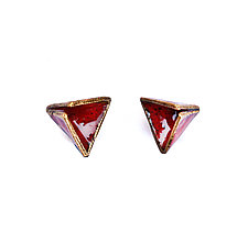 Reveal Triangle Studs by Hsiang-Ting  Yen (Gold, Silver & Enamel Earrings)
