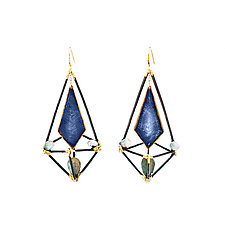 Blue, Black, and Gold Modern Deco Cage Earrings by Hsiang-Ting  Yen (Stone & Enamel Earrings)