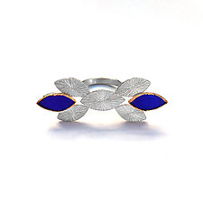 Silver and Gold Modern Deco Statement Ring in Cobalt Blue by Hsiang-Ting  Yen (Stone & Enamel Ring)