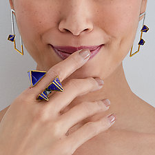 Reveal Parallelogram Post Earrings by Hsiang-Ting  Yen (Gold, Silver & Enamel Earrings)