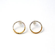 Geo Stud Earrings by Hsiang-Ting  Yen (Gold & Silver Earrings)