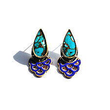 Teardrop Turquoise Earrings by Hsiang-Ting  Yen (Stone & Enamel Earrings)