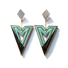 Modern Deco Enameled Earrings by Hsiang-Ting  Yen (Gold, Silver & Enamel Earrings)