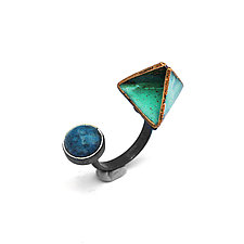 Reveal Open Ring with Denim Lapis by Hsiang-Ting  Yen (Gold, Silver & Stone Earrings)