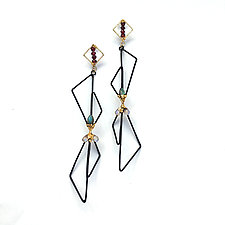 Black and Gold 3D Geo Earrings by Hsiang-Ting  Yen (Stone & Enamel Earrings)