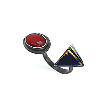 Reveal Open Ring with Red Agate by Hsiang-Ting  Yen (Gold, Silver & Stone Earrings)