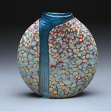 Sandy Cascade Vase with Copper Blue by Thomas Spake (Art Glass Vase)