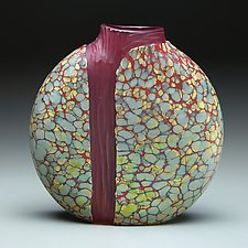 Sandy Cascade Vase with Red Interior by Thomas Spake (Art Glass Vase)