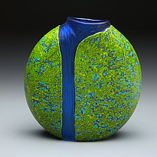 Green Cascade Vase with Blue Interior by Thomas Spake (Art Glass Vase)