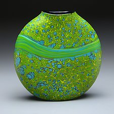 Green Strata Vase by Thomas Spake (Art Glass Vase)