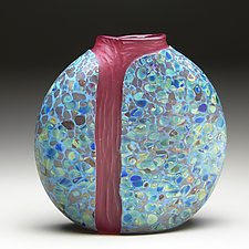 Blue Cascade Vase with Transparent Red Interior by Thomas Spake (Art Glass Vase)
