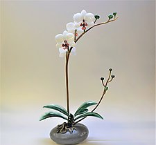 White Phalaenopsis Orchid on Rock by Hung Nguyen (Art Glass Sculpture)