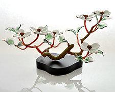 White Dogwood Six Blossoms by Hung Nguyen (Art Glass Sculpture)