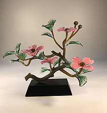Pink Dogwood Branch Four Blossoms by Hung Nguyen (Art Glass Sculpture)