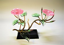 Pink Morning Glory Double Blossoms by Hung Nguyen (Art Glass Sculpture)