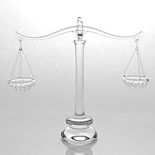 Scale of Justice by Hung Nguyen (Art Glass Sculpture)