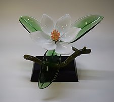 White Magnolia by Hung Nguyen (Art Glass Sculpture)