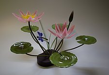 Pink Water Lily and Dragonfly by Hung Nguyen (Art Glass Sculpture)