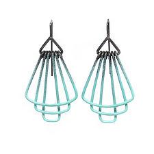 Deco Tier Mini Earrings in Aqua by Jera Lodge (Silver & Steel Earrings)