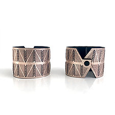 Pair of Chevron Cuffs in Rose Gold Leather by Karole Mazeika (Leather Bracelets)