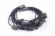 Leather and Tubes Bracelet by Laurette O'Neil (Silver & Leather Bracelet)