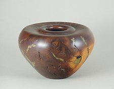 Manzanita Burl and Brass Enclosed Form by Eric Reeves (Wood Sculpture)