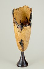 Live-Edge Maple Burl Vessel with East Indian Rosewood Base by Eric Reeves (Wood Vessel)