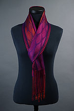 Feathers Scarf in Red and Fuchsia by Mindy McCain (Tencel Scarf)