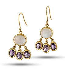 Moonstone and Amethyst Drop Earrings by Lori Kaplan (Gold & Stone Earrings)