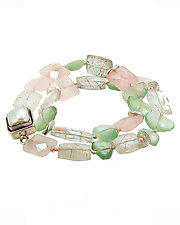 Double Wrap Prehnite and Quartz Bracelet by Lori Kaplan (Silver & Stone Bracelet)