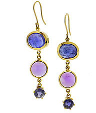 Tanzanite Amethyst Iolite Tiered Earring by Lori Kaplan (Gold & Stone Earrings)