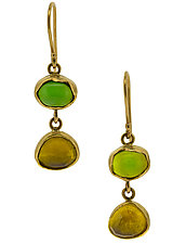 Tourmaline 18K Drop Earrings by Lori Kaplan (Gold & Stone Earrings)