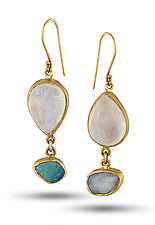 Moonstone and Opal Drop Earrings by Lori Kaplan (Gold & Stone Earrings)