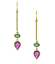 Ruby and Emerald Drop Earrings by Lori Kaplan (Gold & Stone Earrings)