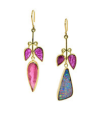 Asymmetric Opal Ruby Flower Earrings by Lori Kaplan (Gold & Stone Earrings)