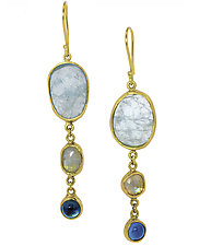 Aquamarine, Moonstone, and Topaz Drops by Lori Kaplan (Gold & Stone Earrings)