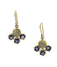 Labradorite Iolite 18K Earrings by Lori Kaplan (Gold & Stone Earrings)
