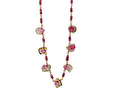 Watermelon Tourmaline Choker by Lori Kaplan (Gold & Stone Necklace)