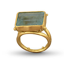Aquamarine 18K Basket RIng by Lori Kaplan (Jewelry Rings)