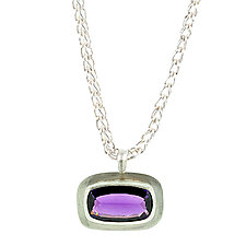 Amethyst Pendant Necklace by Lori Kaplan (Silver & Stone Necklace)