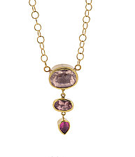 Tiers of Pink Tourmaline Necklace by Lori Kaplan (Gold & Stone Necklace)