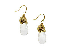 Rock Crystal Drop Earrings by Lori Kaplan (Gold & Stone Earrings)