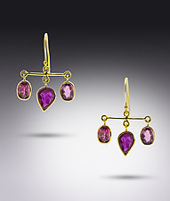 Ruby and Rubellite Earrings by Lori Kaplan (Gold & Stone Earrings)