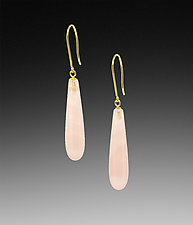 Slim Pink Quartz Drop Earrings by Lori Kaplan (Gold & Stone Earrings)