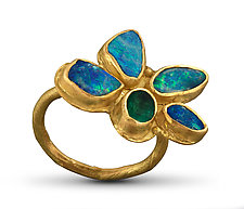 Opal Emerald Flower Ring by Lori Kaplan (Gold & Stone Ring)