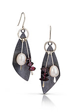 Pearl Lure Earrings by Tammy B (Silver, Stone & Pearl Earrings)
