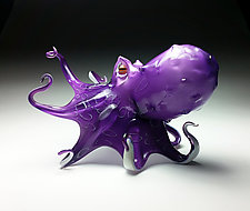 Violet the Octopus by Jeff & Heather Thompson (Art Glass Sculpture)