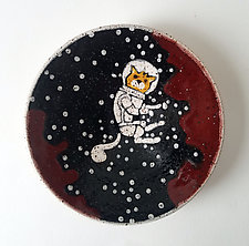 Small Astronaut Cat Dish by Ian Buchbinder (Ceramic Bowl)