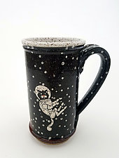 Tall Astronaut Cat Mug by Ian Buchbinder (Ceramic Mug)