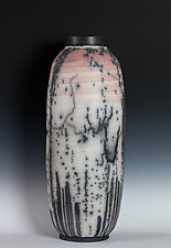 Naked Raku Vessel with Red and White Terra Sigilata by Frank Nemick (Ceramic Sculpture)